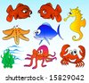 vector illustration of cartoon sea creatures - stock vector