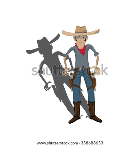 vector illustration of cartoon stylized cowboy