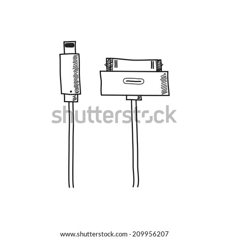 Vector illustration of Cellphone usb charging plugs
