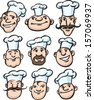 Vector illustration of chef cooks cartoon faces. Easy-edit layered vector EPS10 file scalable to any size without quality loss. High resolution raster JPG file is included. - stock vector