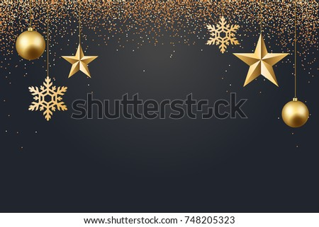 Vector Illustration Of Christmas 2017 Background With Ball Star Snowflake Confetti Gold And Black Colors