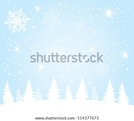 vector illustration of Christmas background with trees and snow