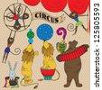 Vector illustration of circus animals in retro style - stock photo