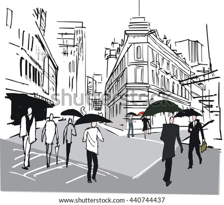 Vector illustration of city commuters with umbrellas with old buildings background.
