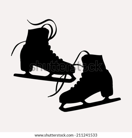 vector illustration classic ice skates ladies stock vector