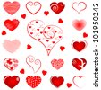 vector illustration of collection of different abstract heart - stock vector
