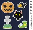 vector illustration of collection of Halloween icon set - stock photo