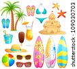 vector illustration of collection of sea beach object - stock vector