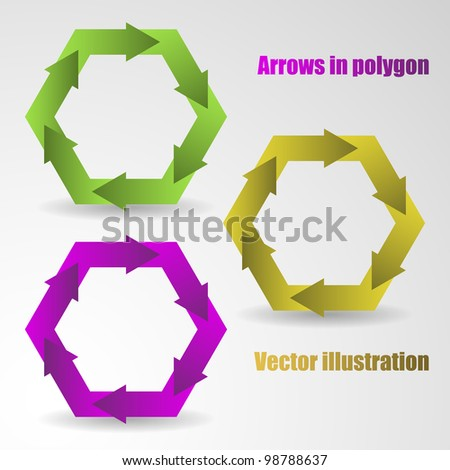 Vector illustration of color arrows in the polygon. Background and description are in separate layers.