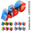 Vector illustration of colored text in isometric view. Standard characters. letters A B C - stock vector