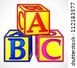 vector illustration of colorful abc block against white - stock photo
