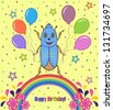 Vector illustration of colorful  happy birthday card with cute beetle - stock vector