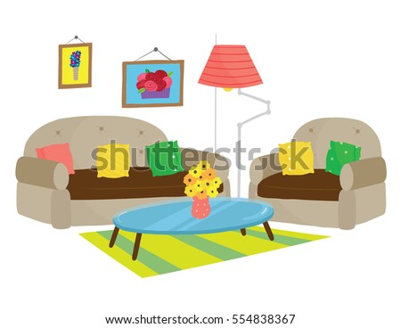 Vector illustration of colorful living room