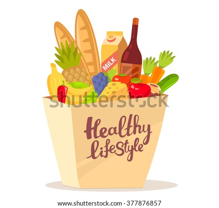 Vector illustration of colorful natural products in bag with text on white background. Art design for web, site, advertising, banner, poster, flyer, brochure, board, paper print.