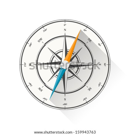 Vector illustration of compass diagram isolated on white background