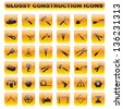 vector illustration of complete set of glossy construction button - stock photo