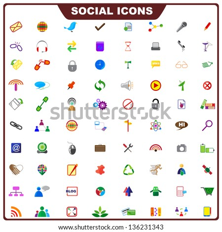 vector illustration of complete set of social icon