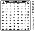 vector illustration of complete set of travel related icon - stock vector