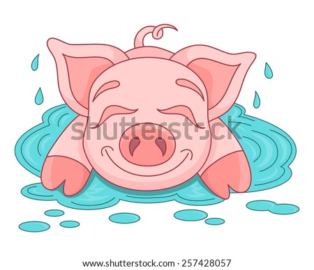 Cute Pig Puddle Funny Piggy Sits Stock Vector 296591195