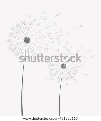 Vector illustration of dandelion flower in motion