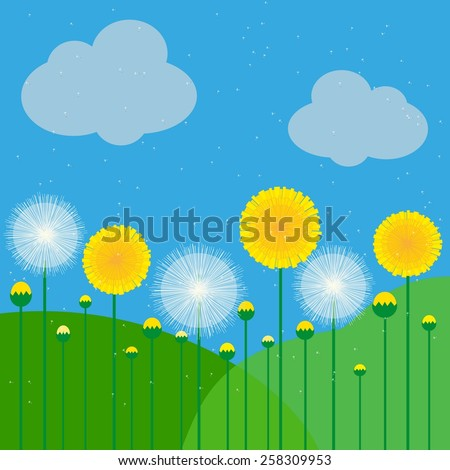 vector illustration of dandelions on a background of sky and meadows