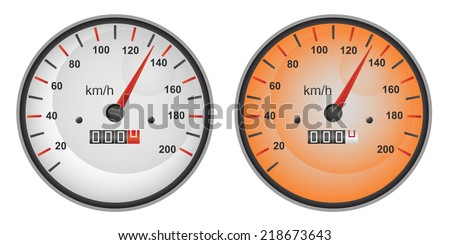 Vector illustration of dashboard speedometer gauges in gray and orange color variants.