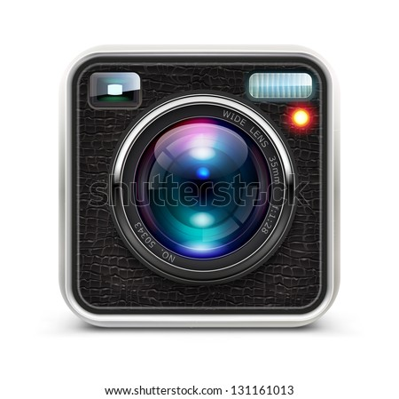 Vector illustration of detailed icon representing cool photo camera with lens
