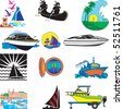 Vector Illustration of 12 different types of Boats. - stock vector