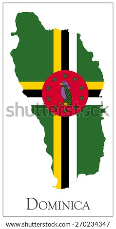 Vector illustration of Dominica flag map. Used transparency.