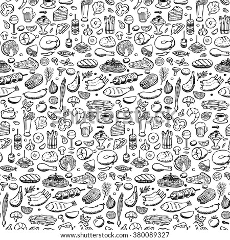 stock vector vector illustration of doodle food and drink elements for backgrounds textile prints covers 380089327 - Каталог — Фотообои «Еда, фрукты, для кухни»