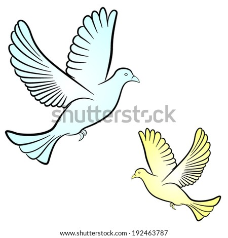 Vector illustration of dove on white background