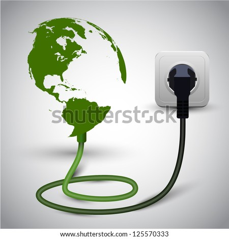Vector illustration of earth globe with power cable