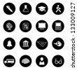 Vector illustration of education icons in black circles. - stock vector