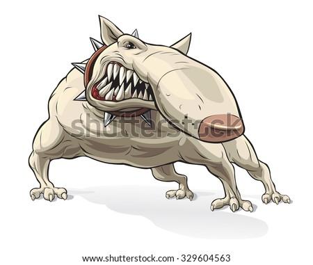 Grey Cartoon Angry Bulldog On White Stock Vector 271945229 ...