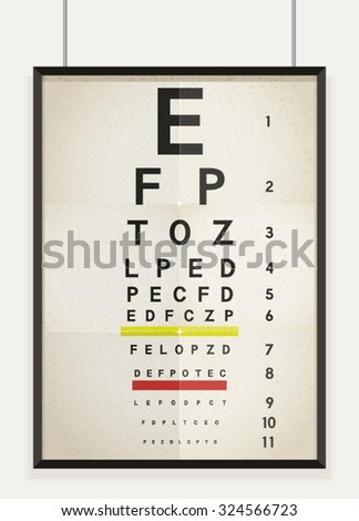 Vector illustration of eye chart. An eye chart is a chart used to measure visual acuity.