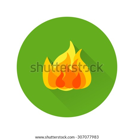 Vector illustration of fire with long shadow.