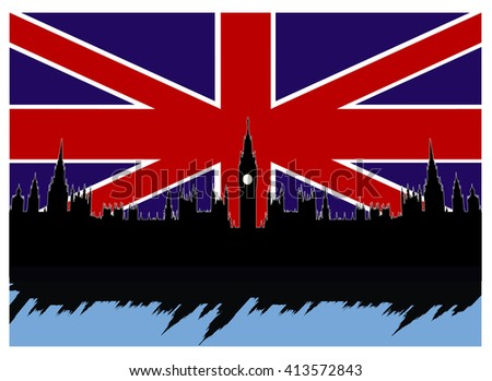 vector illustration  of flag and Big Ben