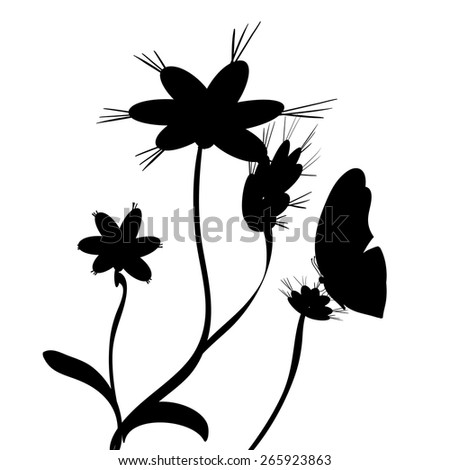 Vector illustration of flowers with butterflies on a white background.