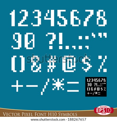 font elements in pixel art style. Hand draw point by point. Background ...