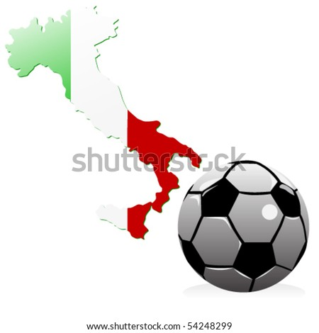 vector illustration of football and Italy shape