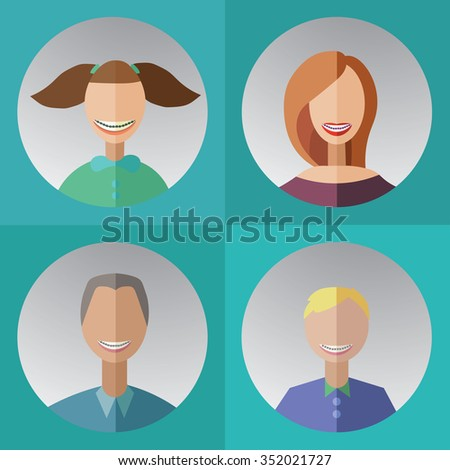 vector illustration of four family members with dental braces