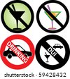 Vector Illustration of four No Alcohol or drinking while driving slash through Signs. See my others in this series. - stock photo