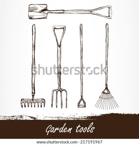 Garden equipment garden vector logo design stock vector for Gardening tools drawing