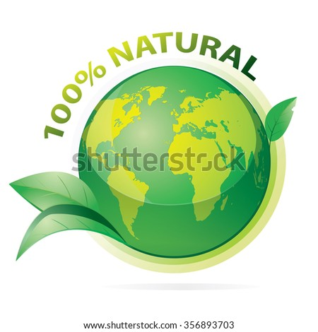 Vector illustration of green earth with 100 percent natural words and leaves isolated on white