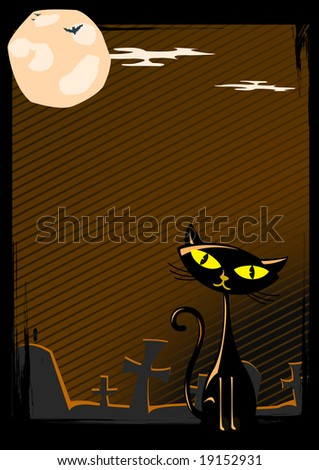 Vector illustration of Halloween cat on cemetery
