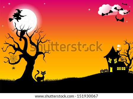 vector illustration of halloween silhouette background