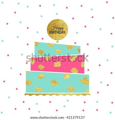 Cute Happy Birthday Card Cake Vector Vector 415177105 – Happy Birthday Card Greeting