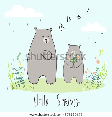 Cute Three Cats Message Hello Spring Stock Vector 558400510   Shutterstock