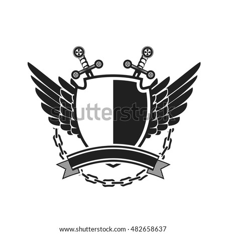 Vector illustration of heraldic coat of arms symbol logy with additional space for your Insignia black and white