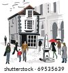 Vector illustration of historic old building with pedestrians in Windsor, England. - stock vector